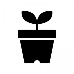 植木鉢から出た芽の白黒シルエットイラスト02