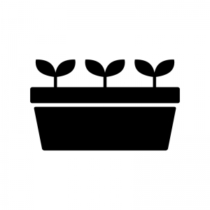 植木鉢から出た芽の白黒シルエットイラスト03