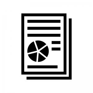 ビジネス資料の白黒シルエットイラスト