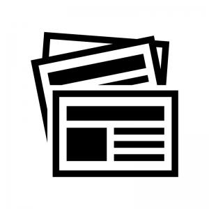新聞の白黒シルエットイラスト02