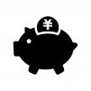 豚の貯金箱とコインの白黒シルエットイラスト