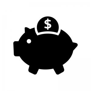 豚の貯金箱とドルコインの白黒シルエットイラスト