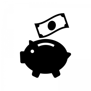豚の貯金箱とお札の白黒シルエットイラスト