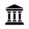 銀行の白黒シルエットイラスト