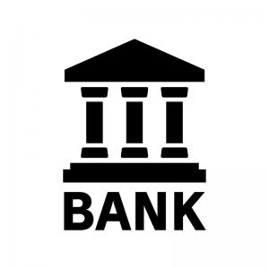 銀行の白黒シルエットイラスト02
