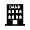 銀行の白黒シルエットイラスト03