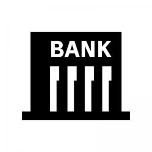 銀行の白黒シルエットイラスト04