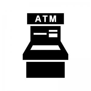 銀行ATMの白黒シルエットイラスト