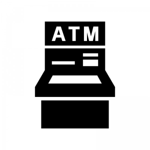 銀行ATMの白黒シルエットイラスト02