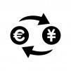 ユーロと円マークの白黒シルエットイラスト