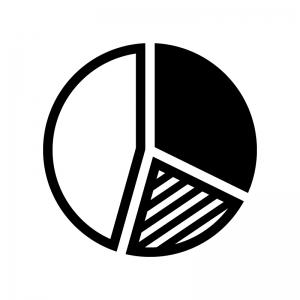円グラフの白黒シルエットイラスト04