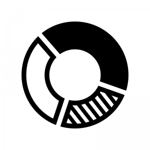 ドーナツグラフの白黒シルエットイラスト