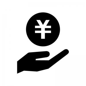 手と円のお金の白黒シルエットイラスト