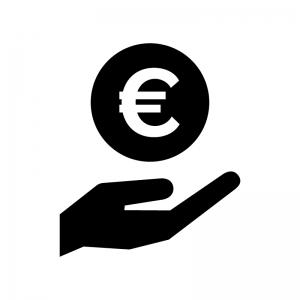 手とユーロのお金の白黒シルエットイラスト