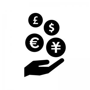 手といろいろな通貨の白黒シルエットイラスト