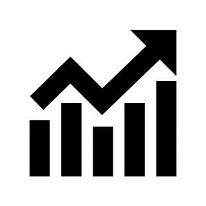 上昇グラフの白黒シルエットイラスト03