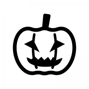 ハロウィン・かぼちゃのお化けの白黒シルエットイラスト05