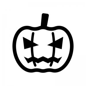 ハロウィン・かぼちゃのお化けの白黒シルエットイラスト06