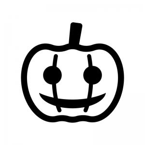 ハロウィン・かぼちゃのお化けの白黒シルエットイラスト07