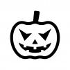 ハロウィン・かぼちゃのお化けの白黒シルエットイラスト08