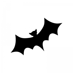 コウモリの白黒シルエットイラスト02