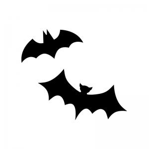 二羽のコウモリの白黒シルエットイラスト