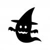 ハロウィンのお化けの白黒シルエットイラスト02