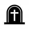 ハロウィン・十字架のお墓の白黒シルエットイラスト