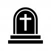 ハロウィン・十字架のお墓の白黒シルエットイラスト02