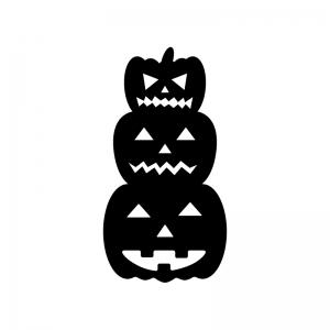 重なったハロウィン・かぼちゃのお化けの白黒シルエットイラスト