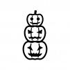 重なったハロウィン・かぼちゃのお化けの白黒シルエットイラスト02