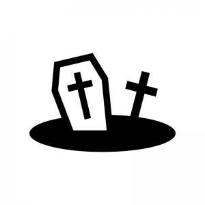 ハロウィン・十字架のお墓の白黒シルエットイラスト03