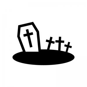 ハロウィン・十字架のお墓の白黒シルエットイラスト04