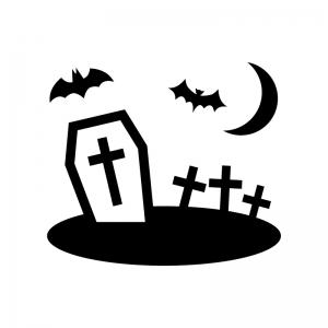 ハロウィン・十字架のお墓の白黒シルエットイラスト05