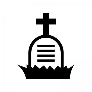 ハロウィン・十字架のお墓の白黒シルエットイラスト06