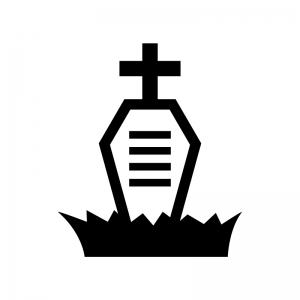 ハロウィン・十字架のお墓の白黒シルエットイラスト07