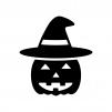 帽子のハロウィン・かぼちゃのお化けの白黒シルエットイラスト