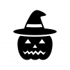 帽子のハロウィン・かぼちゃのお化けの白黒シルエットイラスト02