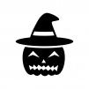 帽子のハロウィン・かぼちゃのお化けの白黒シルエットイラスト03