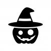 帽子のハロウィン・かぼちゃのお化けの白黒シルエットイラスト04