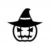 帽子のハロウィン・かぼちゃのお化けの白黒シルエットイラスト06