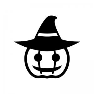 帽子のハロウィン・かぼちゃのお化けの白黒シルエットイラスト07