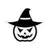 帽子のハロウィン・かぼちゃのお化けの白黒シルエットイラスト08