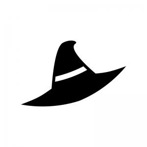ハロウィン・魔女の帽子の白黒シルエットイラスト04