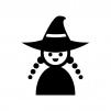 ハロウィン・かわいい魔女の白黒シルエットイラスト
