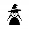 ハロウィン・かわいい魔女の白黒シルエットイラスト02