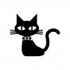 ハロウィンの黒猫の白黒シルエットイラスト
