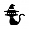 ハロウィンの黒猫の白黒シルエットイラスト02
