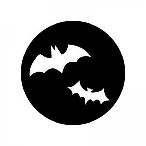 ハロウィン・満月とコウモリの白黒シルエットイラスト