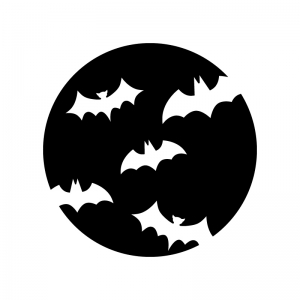 ハロウィン・満月とコウモリの白黒シルエットイラスト02